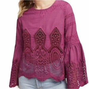 Chloe Oliver crochet bell scalloped sleeve embroidered cutout top oversized XS 9